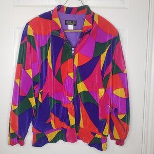 Vintage Las Vegas Colorblock Retro Zipper Jacket M
